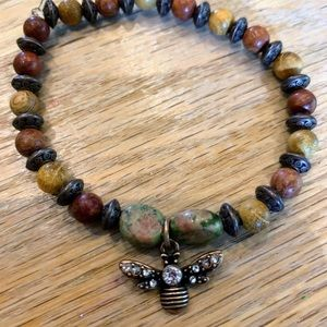 Handmade Bee and Wood Bead Stretch Bracelet
